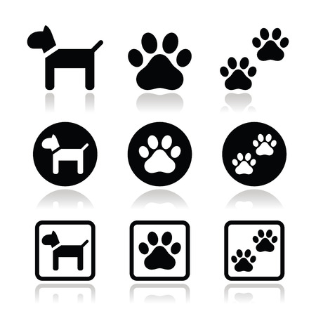 dog paw: Dog, paw prints vector icons set  Illustration