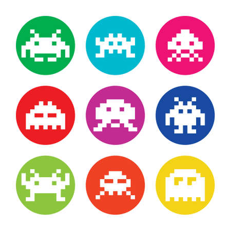 Space invaders, 8bit aliens round icons set Vector