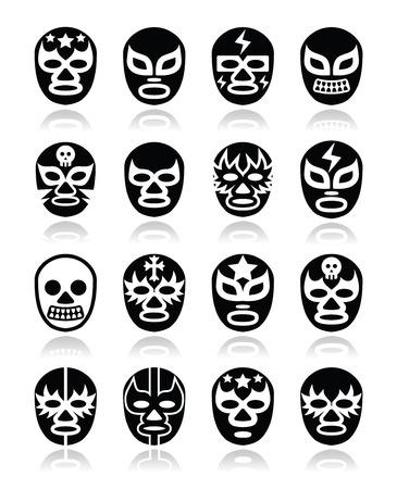Lucha libre Mexicaanse worstelen maskers iconen Stock Illustratie