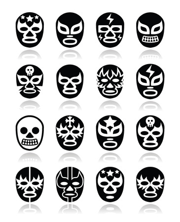 mexico: Lucha libre Mexican wrestling masks icons