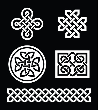 Celtic knots patterns on black background - vector Vector