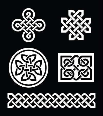 celtic cross: Celtic knots patterns on black background - vector