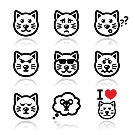 cat icons set - happy, sad, angry isolated on white