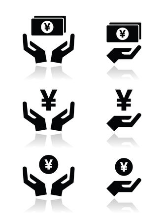 earn money online: Hands with yen banknote, coin vector icons set