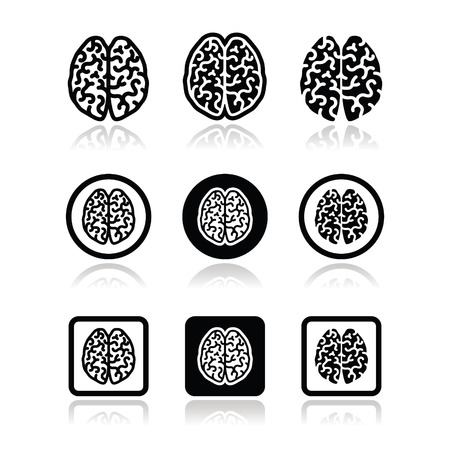 hemisphere: Human brain icons set - intelligence, creativity concept Illustration