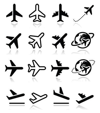 travel: Avion, vol, icônes aéroportuaires fixées Illustration