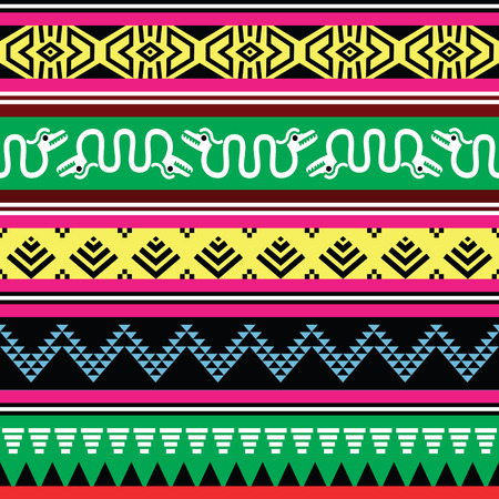 Aztec tribal seamless pattern with monsters in colour Vector