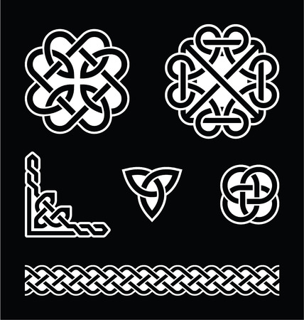 Celtic knots patterns in white on black background Vector