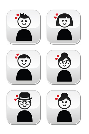 People with hearts, love, Valentines Day buttons set Vector