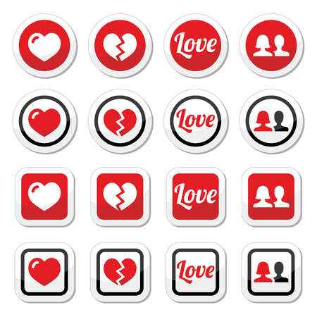 broken up: Love, heart, couple icons for Valentine s day