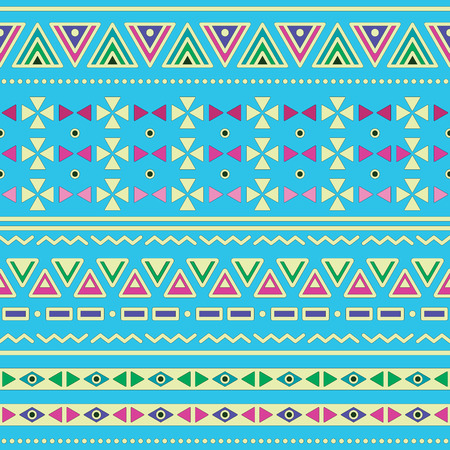 Tribal ethinc ztec seamless pattern on blue background Vector
