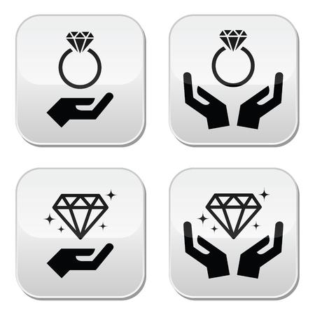 bague de fiancaille: bague de fian�ailles de diamant avec les mains boutons Illustration