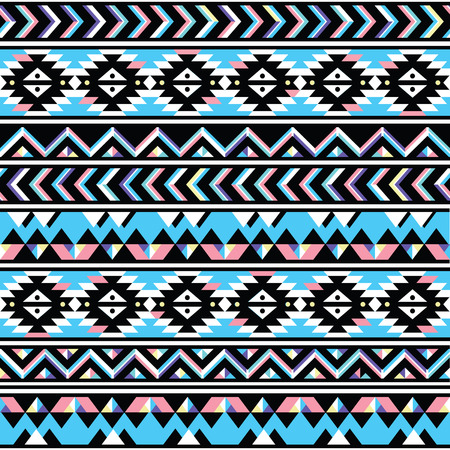 Tribal aztec seamless blue and pink pattern Vector