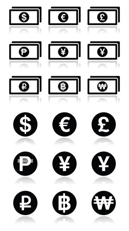 Currency exchange symbols - bank notes and coins icons set Vector Illustration