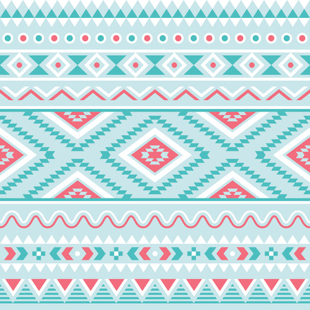 Tribal seamless pattern, aztec blue and pink background Vector