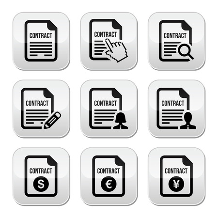 signing a contract: Business or work contract signing buttons set Illustration