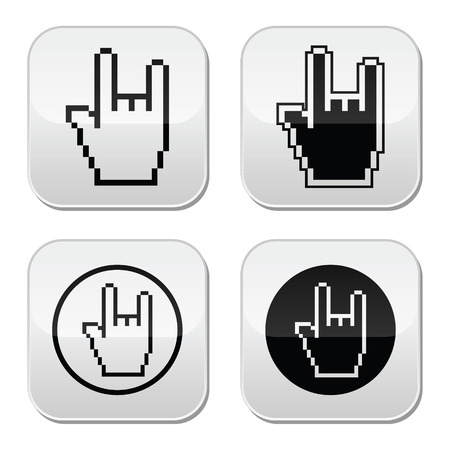 Pixel cursor buttons hand - rock sign  Vector