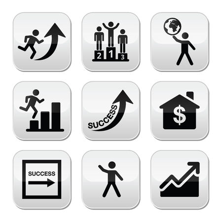 Success in business, self development buttons set Vector