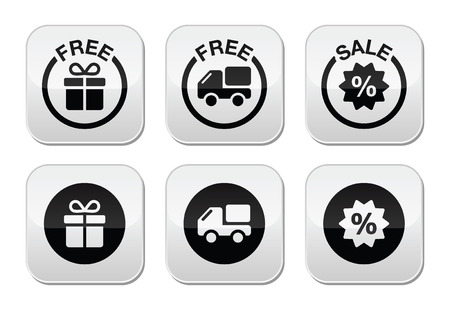 Free gift, free delivery, sale buttons set Vector