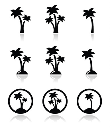 palm trees silhouette: Palm trees on beach icons set Illustration