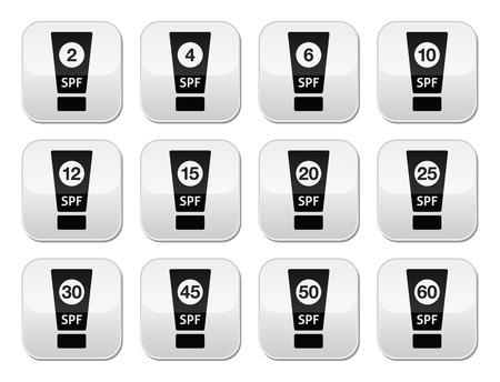 factor: Sun cream, sunblock with SPF factor buttons set Illustration