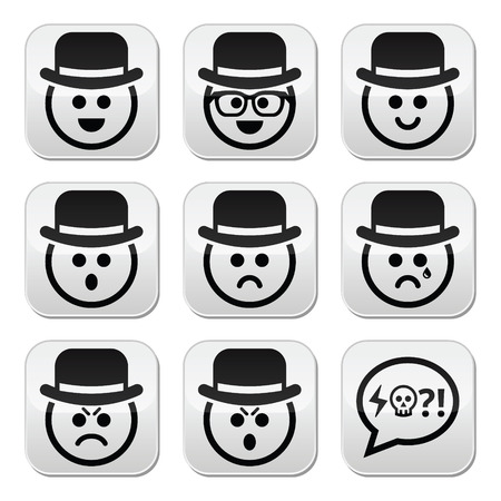 pissed off: Man in hat faces buttons set