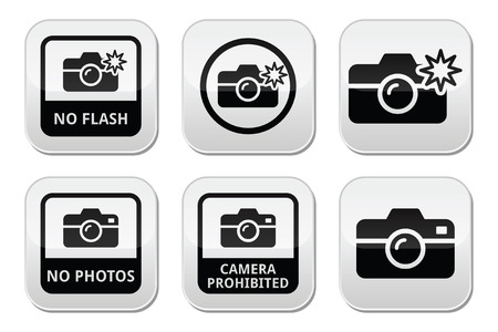 No photos, no cameras, no flash buttons Vector
