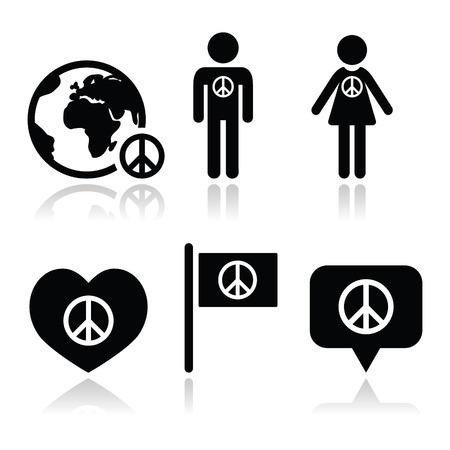 paz mundial: Firmar la paz con la gente y los iconos del mundo establecidos