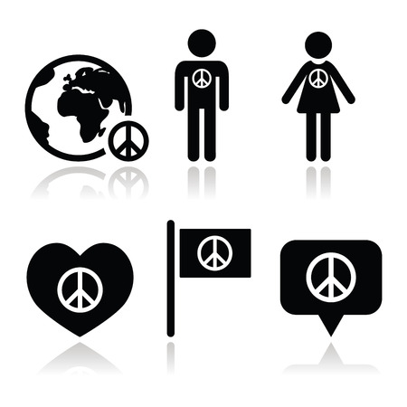 world peace: Peace sign with people and globe icons set
