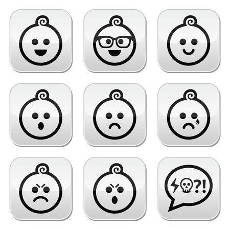 pissed off: Baby boy faces, avatar buttons set
