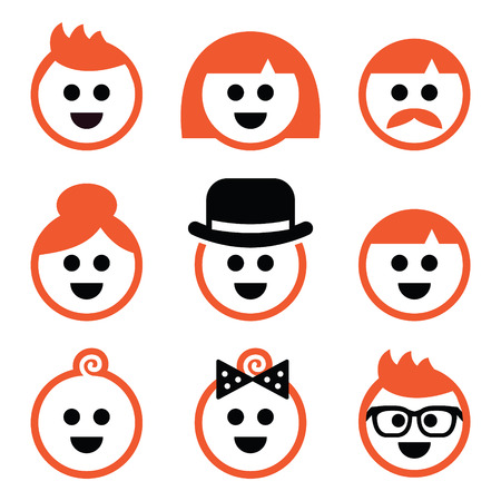 People with ginger hair icons set
