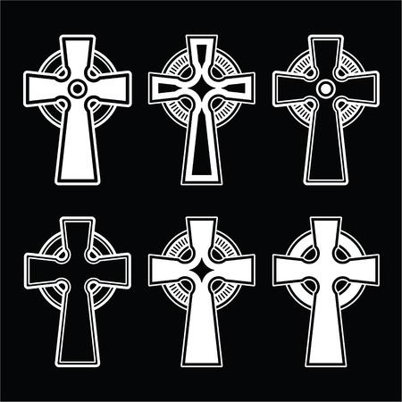 ancient ireland celtic cross: Irish, Scottish celtic cross on black Illustration