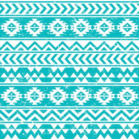 青色の背景にアステカ族の部族シームレスなグランジ ホワイト パターン  イラスト・ベクター素材