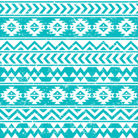 Aztec tribal seamless grunge white pattern on blue background Vector
