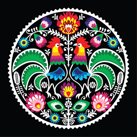 Polish floral embroidery with roosters - traditional folk pattern  Vector