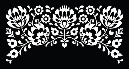 kaszuby: Polish floral folk white embroidery pattern on black background Illustration