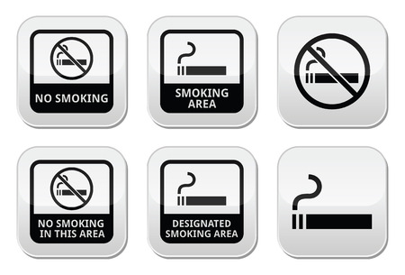 designated: No smoking, smoking area vector buttons set Illustration