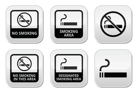 smoking place: No smoking, smoking area vector buttons set Illustration