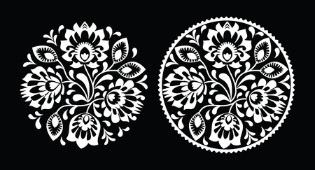 kaszuby: Folk embroidery with flowers - traditional polish round pattern in white Illustration