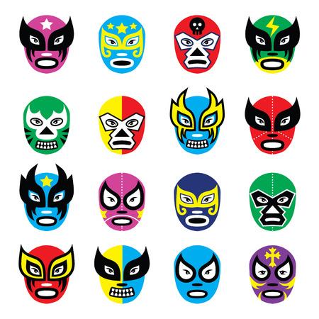 Lucha libre, luchador mexican wrestling masks icons Vector