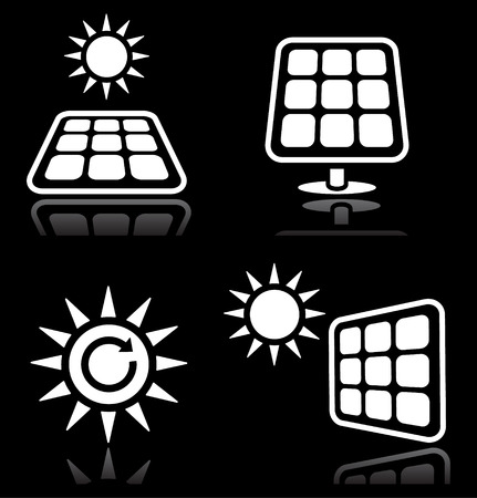 ecologically: Solar panels, solar energy white icons set on black Illustration