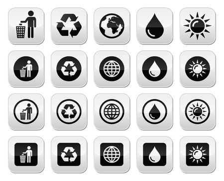 sun drop: Man and bin, recycling, globe, eco power buttons set