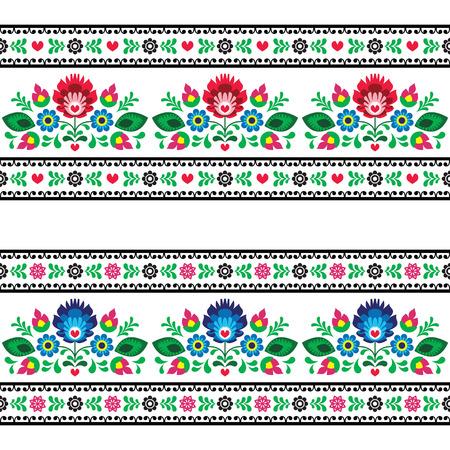 Patrón folclórica polaca transparente con flores