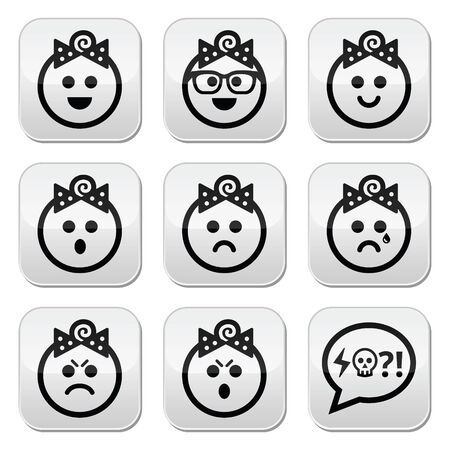 pissed off: Baby girl faces, avatar vector buttons set
