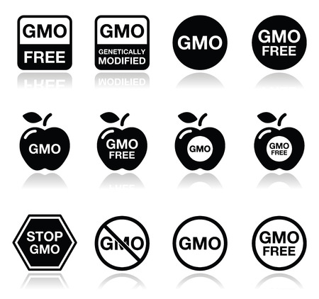 genetically modified organisms: GMO food, no GMO or GMO free icons set Illustration