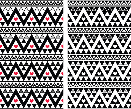 Tribal aztec colorful seamless pattern with heart - two versions Vector