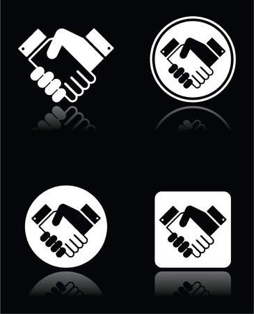 Handshake white icons set on black background Vector