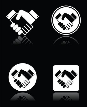 Handshake white icons set on black background Vector
