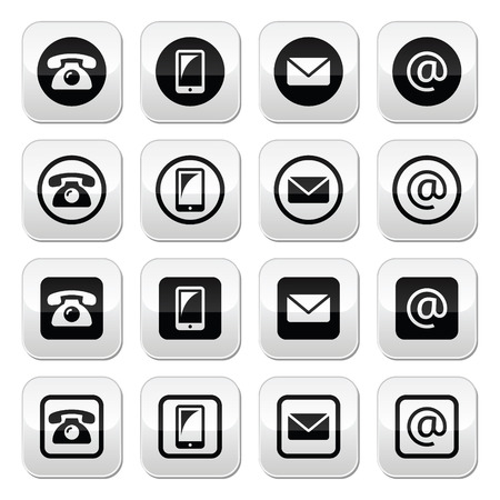 Contact buttons in circle and square set - mobile, phone, email, envelope Vector