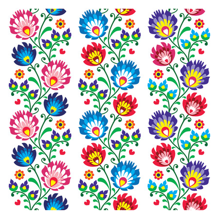 Seamless traditional folk polish pattern - seamless embroidery stripes 向量圖像